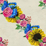 Seamless pattern with blue yellow and pink flowers Royalty Free Stock Photos