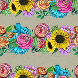 Seamless pattern with blue yellow and pink flowers Stock Photos