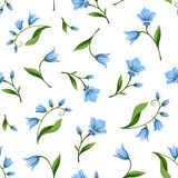 Seamless pattern with bluebell flowers. Vector illustration. Stock Image