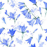 Seamless pattern with bluebell flowers. Bluebell flowers.Seamless pattern.Watercolor hand drawn illustration.White background Stock Photo