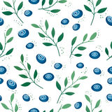 Seamless pattern with blueberries and leaves Stock Images