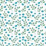Seamless pattern with blueberries and leaves Stock Photography