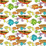 Seamless pattern boat, fish, fishing. vector illustration. Seamless pattern boat, fish, fishing vector illustration Royalty Free Stock Photography