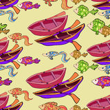 Seamless pattern boat, fish on sunset background. vector illustr. Seamless pattern boat, fish on sunset background vector illustration Royalty Free Stock Photos