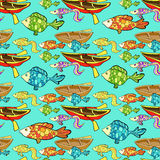 Seamless pattern of boat, fishing on a blue background. vector i. Seamless pattern of boat, fishing on a blue background vector illustration Stock Image