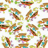 Seamless pattern of boat, fishing cartoon. vector illustration Stock Images