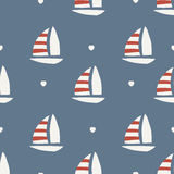 Seamless pattern. boat with heart. Background design Stock Photos