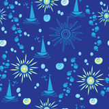 Seamless pattern with boat sun  and seashell Royalty Free Stock Photo
