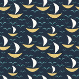 Seamless pattern with boats Stock Images