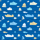 Seamless pattern with boats. Child seamless pattern with cute boats and sea Royalty Free Stock Photo