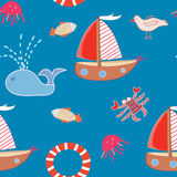 Seamless pattern with boats and sea animals Stock Images