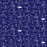Seamless pattern with boats and ships in the sea. Vector illustration Royalty Free Stock Photography