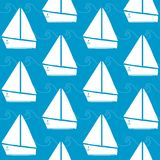 Seamless pattern with boats and waves Stock Image