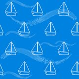 Seamless pattern with boats and waves Stock Photography
