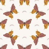 Seamless pattern with boho butterfly. Insect with celestial elements. Witch and magic symbol for textile, fabric, prints