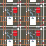 Seamless pattern on the boiler room Stock Images