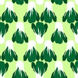 Seamless pattern with  bok choi, also pak-choi, Chinese kale. Vegetarian food in modern flat desigh vector illustration