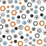 Seamless pattern with bolts nuts nails. Various iron screws collection Royalty Free Stock Photos