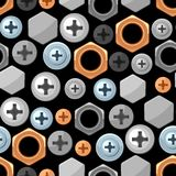 Seamless pattern with bolts nuts nails. Various iron screws collection Stock Photo
