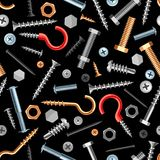 Seamless pattern with bolts nuts nails. Various iron screws collection Royalty Free Stock Photo