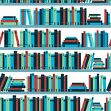 Seamless pattern book shelf with books. Vector. Stock Photography