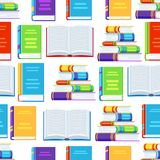 Seamless pattern with books. Education or bookstore background in flat design style Stock Image