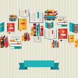 Seamless pattern with books in flat design style Royalty Free Stock Photo