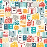 Seamless pattern with books in flat design style Stock Photo