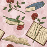 Seamless pattern of books and flowers Royalty Free Stock Images
