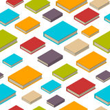 Seamless pattern of books. Isometric flat style. Seamless pattern of new 3d colorful books and tutorials. Isometric flat class books and textbooks wallpaper Stock Photos