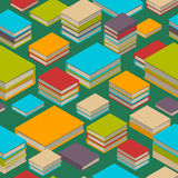 Seamless pattern of books. Isometric flat style. Seamless pattern of new 3d colorful books and tutorials. Isometric flat class books and textbooks wallpaper Royalty Free Stock Image