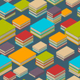 Seamless pattern of books. Isometric flat style. Seamless pattern of new 3d colorful books and tutorials. Isometric flat class books and textbooks wallpaper Royalty Free Stock Images