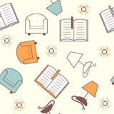 Seamless pattern with books, lamp and armchair Royalty Free Stock Photo