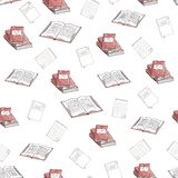 Seamless pattern of books and notebooks on a white background vector illustration