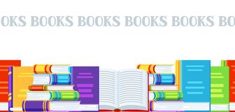 Seamless pattern with books. Education or bookstore background in flat design style Royalty Free Stock Images