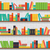Seamless pattern bookshelves, books on the brick wall background Stock Images