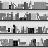 Seamless pattern bookshelves, books on the brick wall background Royalty Free Stock Image