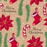 Seamless pattern with boots, candy and Christmas flower Stock Photo