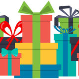 Seamless pattern. Border gift boxes. Flat design. Stock Images