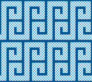 A seamless pattern or border made of Celtic knots laid in an S shape curve, vector illustration. (pointed corners, white on dark blue background Stock Images