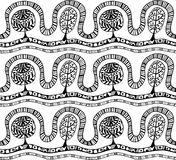 Seamless pattern with botanic texture in doodle style. Stock Photography