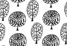 Seamless pattern with botanic texture in doodle style. Stock Image