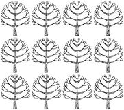 Seamless pattern with botanic texture in doodle style. Royalty Free Stock Images