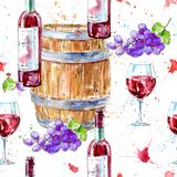 Seamless pattern of a bottle of red wine, glasses,wooden barrel and grapes. Picture of a alcoholic drink.Beverage.Watercolor hand drawn illustration.White Stock Photos