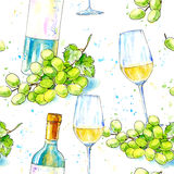 Seamless pattern of a bottle of white wine and glasses. stock illustration