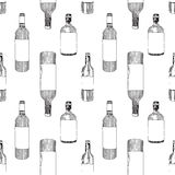 Seamless pattern bottle of wine Stock Photography