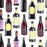 Seamless pattern with bottles of dark beer, watercolor illustration in hand-drawn style for St. Patrick`s Day. Stock Photography