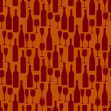 Seamless pattern with bottles and glasses of wine and champagne. Royalty Free Stock Images