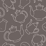 Seamless pattern with bottles and kettles Royalty Free Stock Photo