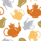 Seamless pattern with bottles and kettles Stock Photos